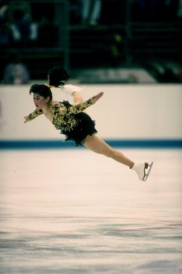 21 Feb 1992: Kristi Yamaguchi of the United States performs during the Olympic Games in Albertville, France.