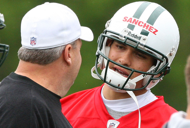 FLORHAM PARK, NJ - MAY 02:  Quarterback Mark Sanchez #6 of the New York Jets talks with head coach Rex Ryan during minicamp on May 2, 2009 at the Atlantic Health Jets Training Center in Florham Park, New Jersey.  (Photo by Jim McIsaac/Getty Images)