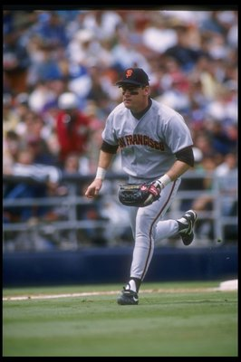 7 May 1995: Third baseman Matt Williams of the San Francisco Giants charges a ground ball during the Giants 11-4 victory over the San Diego Padres at Jack Murphy Stadium in San Diego, California.