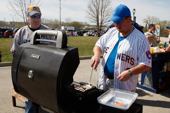 MILWAUKEE, WI - APRIL 05: Brewers fans tailgate in the parking lot prior to the game between the Colorado Rockies and the Milwaukee Brewers at Miller Park on April 5, 2010 in Milwaukee, Wisconsin. (Photo by Scott Boehm/Getty Images)
