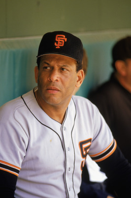 1986:  Former San Francisco Giant player Orlando Cepeda '58-'66, looks on from the dugout during the 1986 season. (Photo by: Stephen Dunn/Getty Images)