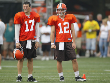 BEREA, OH - AUGUST 04:  Jake Delhomme #17 and Colt McCoy #12 of the Cleveland Browns stand next to each other during training camp at the Cleveland Browns Training and Administrative Complex on August 4, 2010 in Berea, Ohio.  (Photo by Gregory Shamus/Gett
