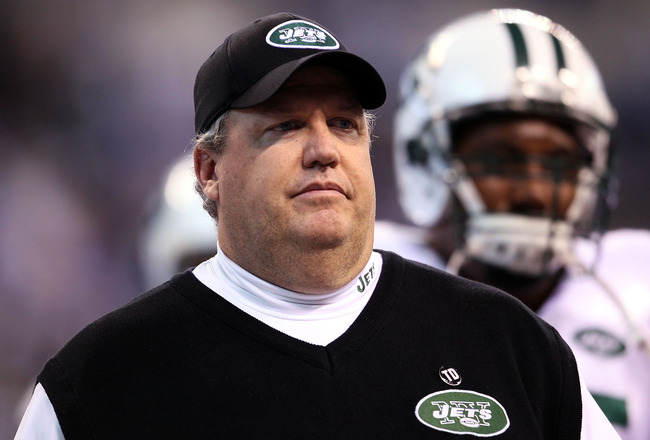 INDIANAPOLIS - JANUARY 24:  Rex Ryan, head coach of the New York Jets, looks on during warm-ups before playing against the Indianapolis Colts during the AFC Championship Game at Lucas Oil Stadium on January 24, 2010 in Indianapolis, Indiana.  (Photo by An
