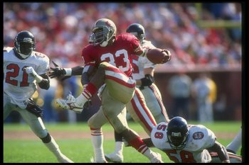 23 Sep 1990:  Running back Roger Craig of the San Francisco 49ers runs with the ball during a game against the Atlanta Falcons at Candlestick Park in San Francisco, California.  The 49ers won the game, 19-13. Mandatory Credit: Otto Greule  /Allsport