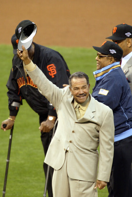 SAN FRANCISCO - OCTOBER 22:  Old time Giant Juan Marichal waves to the crowd before other former Giant Willie Mays throws out the ceremonial first pitch prior to the start of game three between the Anaheim Angels and the San Francisco Giants in the World