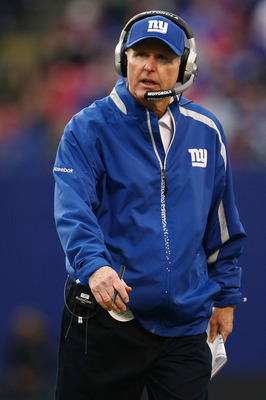 EAST RUTHERFORD, NJ - NOVEMBER 22:  Head coach Tom Coughlin of the the New York Giants watches on from the sideline against the Atlanta Falcons on November 22, 2009 at Giants Stadium in East Rutherford, New Jersey.  (Photo by Chris McGrath/Getty Images)