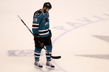 SAN JOSE, CA - MAY 18:  Joe Thornton #19 of the San Jose Sharks looks down late in the third period before losing to the Chicago Blackhawks 4-2 in Game Two of the Western Conference Finals during the 2010 NHL Stanley Cup Playoffs at HP Pavilion on May 18,