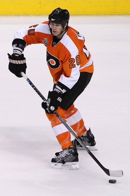 PHILADELPHIA - JUNE 09:  Chris Pronger #20 of the Philadelphia Flyers handles the puck against the Chicago Blackhawks in Game Six of the 2010 NHL Stanley Cup Final at the Wachovia Center on June 9, 2010 in Philadelphia, Pennsylvania.  (Photo by Andre Ring