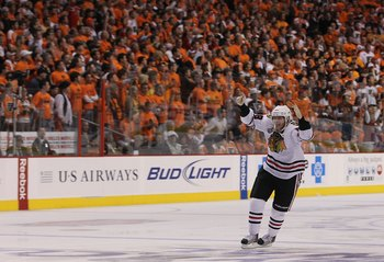 PHILADELPHIA - JUNE 09: Patrick Kane #88 of the Chicago Blackhawks celebrates after scoring the game winning goal in overtime as the Blackhawks defeated the Philadelphia Flyers 4-3 to win the Stanley Cup in Game Six of the 2010 NHL Stanley Cup Final at th