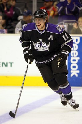 LOS ANGELES, CA - FEBRUARY 11:  Anze Kopitar #11 of the Los Angeles Kings skates during warm-up prior to their NHL game against the Edmonton Oilers at the Staples Center on February 11, 2010 in Los Angeles, California. The Oilers defeated the Kings 3-2 in