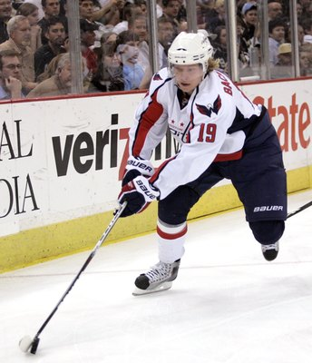 PITTSBURGH, PA - APRIL 6:  Nicklas Backstrom #19 of the Washington Capitals handles the puck against the Pittsburgh Penguins at Mellon Arena on April 6, 2010 in Pittsburgh, Pennsylvania.  The Capitals defeated the Penguins 6-3.  (Photo by Justin K. Aller/