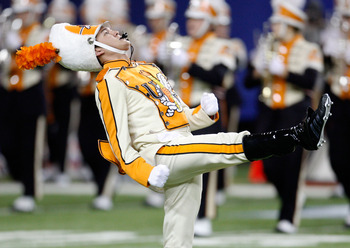 ATLANTA - DECEMBER 31:  The Tennessee Volunteers drum major leads the band on the field before the Chick-Fil-A Bowl against the Virginia Tech Hokies at the Georgia Dome on December 31, 2009 in Atlanta, Georgia.  The Hokies beat the Volunteers 37-14.  (Pho