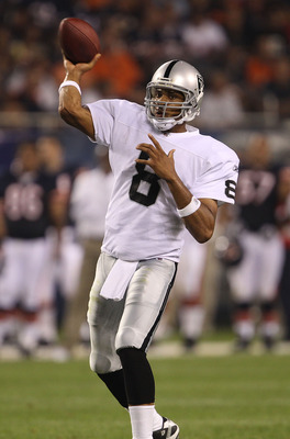 CHICAGO - AUGUST 21: Jason Campbell #8 of the Oakland Raiders throws a pass against the Chicago Bears during a preseason game at Soldier Field on August 21, 2010 in Chicago, Illinois. The Raiders defeated the Bears 32-17. (Photo by Jonathan Daniel/Getty I