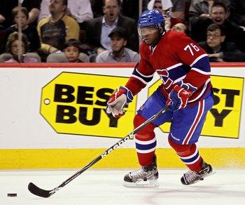 MONTREAL, QC - MAY 20:  P.K. Subban #76 of the Montreal Canadiens handles the puck in Game 3 of the Eastern Conference Finals during the 2010 NHL Stanley Cup Playoffs at Bell Centre on May 20, 2010 in Montreal, Canada.  (Photo by Jim McIsaac/Getty Images)