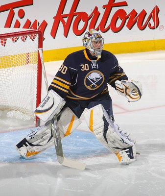 BUFFALO, NY - APRIL 15: Ryan Miller #30 of the Buffalo Sabres plays against the Boston Bruins in Game One of the Eastern Conference Quarterfinals during the 2010 NHL Stanley Cup Playoffs at HSBC Arena on April 15, 2010 in Buffalo, New York.  (Photo by Ric