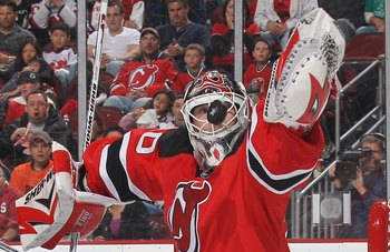 NEWARK, NJ - APRIL 16: Martin Brodeur #30 of the New Jersey Devils makes the save against the Philadelphia Flyers in Game Two of the Eastern Conference Quarterfinals during the 2010 NHL Stanley Cup Playoffs at the Prudential Center on April 16, 2010 in Ne