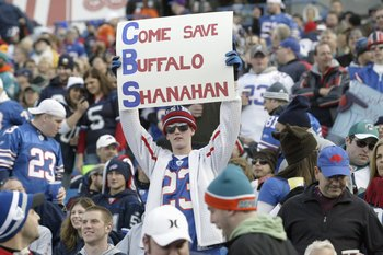 ORCHARD PARK, NY - NOVEMBER 29: A fan of the Buffalo Bills holds up a sign before the game against the Miami Dolphins at Ralph Wilson Stadium on November 29, 2009 in Orchard Park, New York. Buffalo won 31-14. (Photo by Rick Stewart/Getty Images)