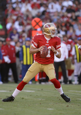 SAN FRANCISCO - AUGUST 22:  Alex Smith #11 of the San Francisco 49ers in action against the Minnesota Vikings at Candlestick Park on August 22, 2010 in San Francisco, California.  (Photo by Ezra Shaw/Getty Images)