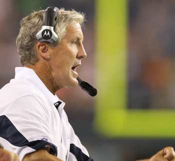 SEATTLE - AUGUST 14:  Head coach Pete Carroll of the Seattle Seahawks watches play during the preseason game against the Tennessee Titans at Qwest Field on August 14, 2010 in Seattle, Washington. (Photo by Otto Greule Jr/Getty Images)