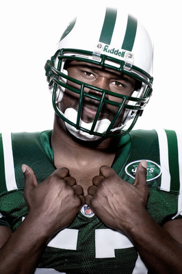 NEW YORK - APRIL 20:  (EDITORS NOTE: IMAGES HAVE BEEN DIGITALLY MANIPULATED) Bart Scott of the New York Jets poses for a portrait on April 20, 2009 in New York, New York.  (Photo by Chris McGrath/Getty Images)