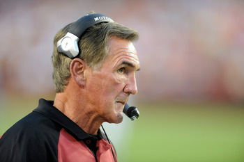 LANDOVER, MD - AUGUST 21:  Head coach Mike Shanahan of the Washington Redskins watches the preseason game against the Baltimore Ravens at FedExField on August 21, 2010 in Landover, Maryland.  (Photo by Greg Fiume/Getty Images)