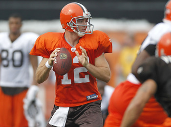 BEREA, OH - AUGUST 04:  Colt McCoy #12 of the Cleveland Browns gets ready to throw a pass during training camp at the Cleveland Browns Training and Administrative Complex on August 4, 2010 in Berea, Ohio.  (Photo by Gregory Shamus/Getty Images)
