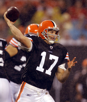 CLEVELAND - AUGUST 21:  Jake Delhomme #17 of the Cleveland Browns throws to a receiver against the St. Louis Rams at Cleveland Browns Stadium on August 21, 2010 in Cleveland, Ohio.  (Photo by Matt Sullivan/Getty Images)