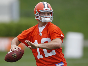 BEREA, OH - MAY 01:  Colt McCoy #12 of the Cleveland Browns gets ready to throw a pass during rookie mini camp at the Cleveland Browns Training and Administrative Complex on May 1, 2010 in Berea, Ohio.  (Photo by Gregory Shamus/Getty Images)