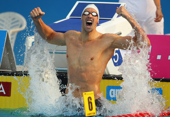 BUDAPEST, HUNGARY - AUGUST 13: Alain Bernard of France celebrates after winning the Men's 100m Freestyle Final during the European Swimming Championships at the Hajos Alfred Swimming complex on August 13, 2010 in Budapest, Hungary.  (Photo by Clive Rose/G