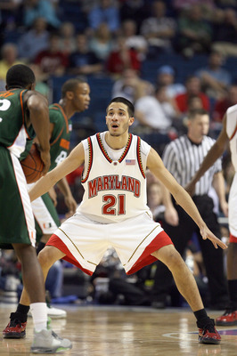 TAMPA, FL - MARCH 8: Greivis Vasquez #21 of the Maryland Terrapins guards his player against the Miami Hurricanes in the opening round of the ACC Men's Basketball Tournament at the St. Pete Times Forum on March 8, 2007 in Tampa, Florida. (Photo by Doug Be