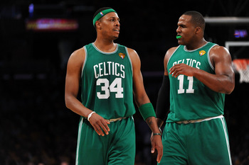 LOS ANGELES, CA - JUNE 03:  (L-R) Paul Pierce #34 and Glen Davis #11 of the Boston Celtics talk on court against the Los Angeles Lakers in Game One of the 2010 NBA Finals at Staples Center on June 3, 2010 in Los Angeles, California.  NOTE TO USER: User ex