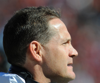 AUBURN, AL - NOVEMBER 06:  Coach Gene Chizik of the Auburn Tigers watches play against the Chattanooga Mocs November 6, 2010 at Jordan-Hare Stadium in Auburn, Alabama.  (Photo by Al Messerschmidt/Getty Images)