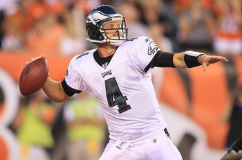 CINCINNATI - AUGUST 20:  Kevin Kolb #4 of the Philadelphia Eagles throws a pass during the NFL preseason game against the Cincinnati Bengals at Paul Brown Stadium on August 20, 2010 in Cincinnati, Ohio.  (Photo by Andy Lyons/Getty Images)