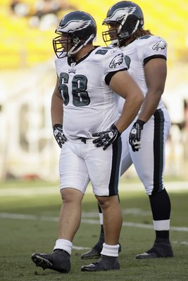 PITTSBURGH - AUGUST 8:  Mike McGlynn #68 of the Philadelphia Eagles looks on during a preseason game against the Pittsburgh Steelers on August 8, 2008 at Heinz Field in Pittsburgh, Pennsylvania. (Photo by Rick Stewart/Getty Images)