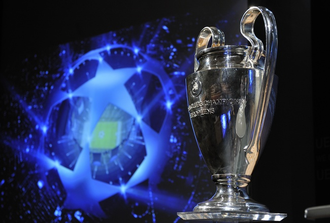 NYON, SWITZERLAND - AUGUST 06:  The UEFA Champions League trophy is displayed after the UEFA Champions League play-off draw on August 6, 2010 in Nyon, Switzerland. The play-offs are played over two legs on 17/18 and 24/25 August. The ten play-off winners
