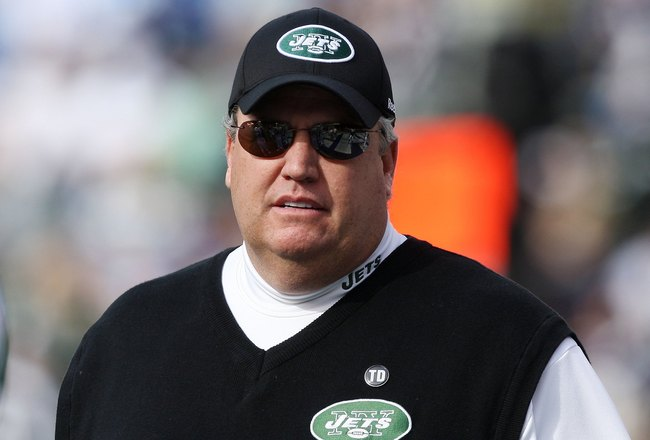 SAN DIEGO - JANUARY 17:  Head coach Rex Ryan of the New York Jets stands on the field during the AFC Divisional Playoff Game against the San Diego Chargers at Qualcomm Stadium on January 17, 2010 in San Diego, California.  (Photo by Donald Miralle/Getty I