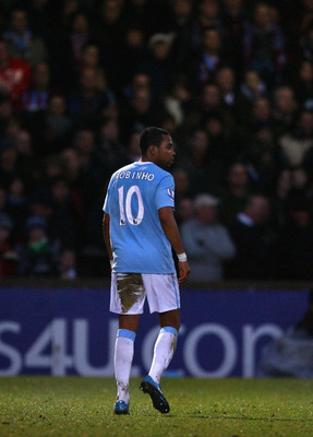 SCUNTHORPE, NORTH LINCS - JANUARY 24:  Robinho of Manchester City looks on during the FA Cup sponsored by E.ON Fourth round match between Scunthorpe United and Manchester City at Glanford Park on January 24, 2010 in Scunthorpe, United Kingdom.  (Photo by