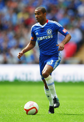 LONDON, ENGLAND - AUGUST 08:  Ashley Cole of Chelsea in action during the FA Community Shield match between Chelsea and Manchester United at Wembley Stadium on August 8, 2010 in London, England.  (Photo by Laurence Griffiths/Getty Images)