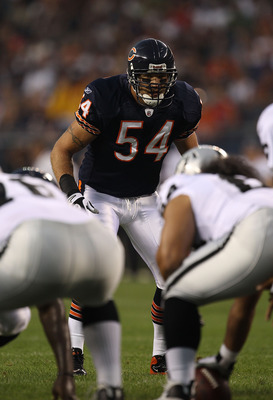 CHICAGO - AUGUST 21: Brian Urlacher #54 of the Chicago Bears awaits the start of play during a preseason game against the Oakland Raiders at Soldier Field on August 21, 2010 in Chicago, Illinois. The Raiders defeated the Bears 32-17. (Photo by Jonathan Da