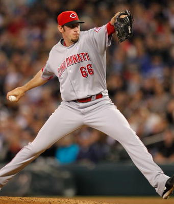 SEATTLE - JUNE 20:  Relief pitcher Logan Ondrusek #66 of the Cincinnati Reds pitches against the Seattle Mariners on June 20, 2010 at Safeco Field in Seattle, Washington. (Photo by Otto Greule Jr/Getty Images)