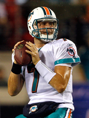 JACKSONVILLE, FL - AUGUST 21:  Quarterback Chad Henne #7 of the Miami Dolphins attempts a pass during the preseason game against the Jacksonville Jaguars at EverBank Field on August 21, 2010 in Jacksonville, Florida.  (Photo by Sam Greenwood/Getty Images)