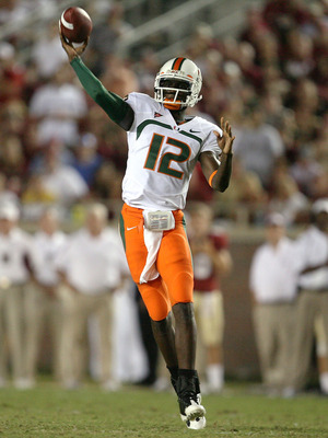 TALLAHASSEE, FL - SEPTEMBER 07:  Quarterback Jacory Harris #12 of the Miami Hurricanes throws a pass against the Florida State Seminoles at Doak Campbell Stadium on September 7, 2009 in Tallahassee, Florida.  (Photo by Doug Benc/Getty Images)
