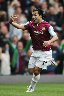 LONDON - MAY 05:  Carlos Tevez of West Ham United celebrates scoring during the Barclays Premiership match between West Ham United and Bolton Wanderers at Upton Park on May 5, 2007 in London, England.  (Photo by Jamie McDonald/Getty Images)