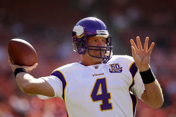 SAN FRANCISCO - AUGUST 22:  Brett Favre #4 of the Minnesota Vikings warms up before their preseason game against the San Francisco 49ers at Candlestick Park on August 22, 2010 in San Francisco, California.  (Photo by Ezra Shaw/Getty Images)