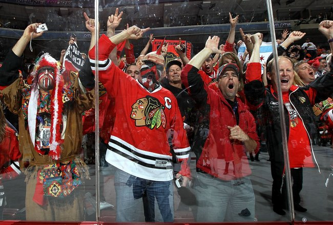 PHILADELPHIA - JUNE 09:  Fans of the Chicago Blackhawks celebrate after the Blackhawks defeated the Philadelphia Flyers 4-3 in overtime to win the Stanley Cup in Game Six of the 2010 NHL Stanley Cup Final at the Wachovia Center on June 9, 2010 in Philadel