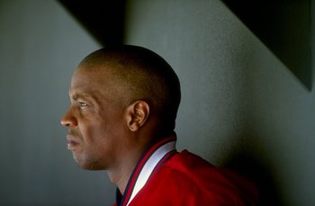 11 Jul 1998:  Pitcher Dwight Gooden #16 of the Cleveland Indians watching from the dug out during the game against the Minnesota Twins at Jacobs Field in Cleveland, Ohio. The Indians defeated the Twins 12-2.