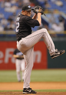 ST PETERSBURG, FL - JULY 20:  Pitcher B.J. Ryan #52 of the Toronto Blue Jays closes the ninth inning against the Tampa Bay Rays on July 20, 2008 at Tropicana Field in St. Petersburg, Florida.  (Photo by Al Messerschmidt/Getty Images)
