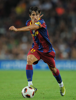 BARCELONA, SPAIN - AUGUST 25: Bojan Krkic of Barcelona in action during the Joan Gamper Trophy match between Barcelona and AC Milan at Camp Nou stadium on August 25, 2010 in Barcelona, Spain.  (Photo by Denis Doyle/Getty Images)