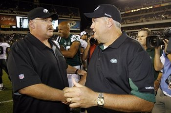New York Jets' head coach Rex Ryan exchanges pleasantries with Philadelphia Eagles' head coach Andy Reid after New York defeated Philadelphia 21-17.