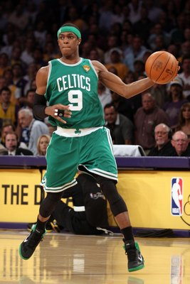 LOS ANGELES, CA - JUNE 15:  Rajon Rondo #9 of the Boston Celtics moves the ball while taking on the Los Angeles Lakers in Game Six of the 2010 NBA Finals at Staples Center on June 15, 2010 in Los Angeles, California.  NOTE TO USER: User expressly acknowle